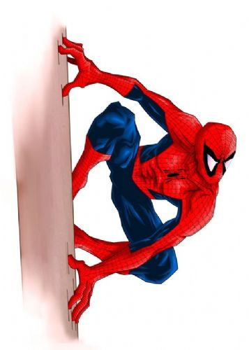 SPIDER MAN - WALL CLING - White portrait canvas print - self adhesive poster - photo print